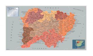 Municipalities Salamanca map from Spain