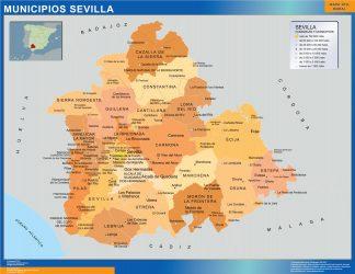 Municipalities Sevilla map from Spain